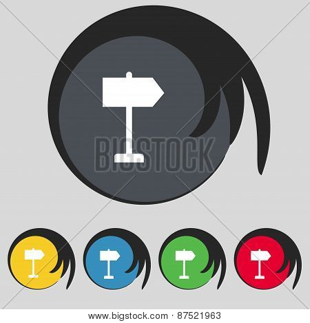 Signpost Icon Sign. Symbol On Five Colored Buttons. Vector