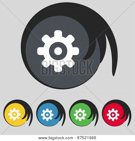 Cog Settings, Cogwheel Gear Mechanism Icon Sign. Symbol On Five Colored Buttons. Vector