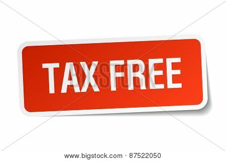 Tax Free Red Square Sticker Isolated On White