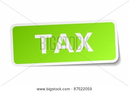 Tax Green Square Sticker On White Background