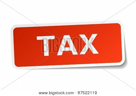 Tax Red Square Sticker Isolated On White