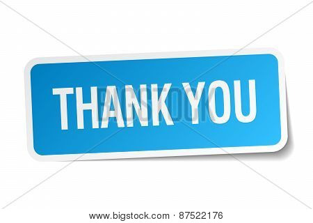 Thank You Blue Square Sticker Isolated On White
