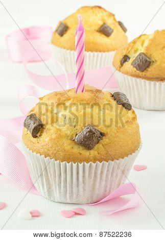Chocolate Muffin with Candle