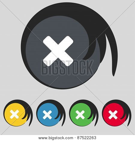 Cancel, Multiplication Icon Sign. Symbol On Five Colored Buttons. Vector