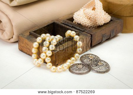 Vintage Lace, Silver Buttons And Pearl Necklace