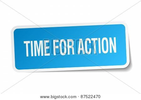 Time For Action Blue Square Sticker Isolated On White