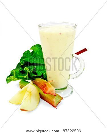 Milkshake with rhubarb and apples in tall glass