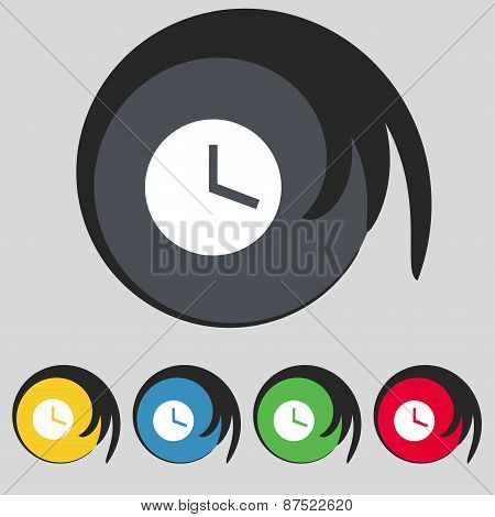 Mechanical Clock  Icon Sign. Symbol On Five Colored Buttons. Vector