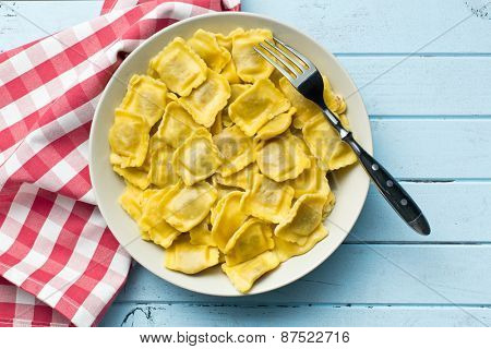 the cooked ravioli on a plate