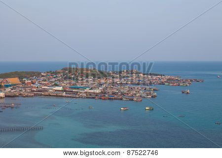 Aerial View Of Fishermen Town On Sunset