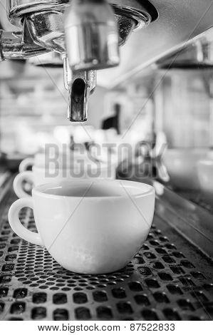 Coffee Machine Making Espresso In A Cafe.