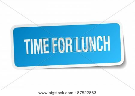 Time For Lunch Blue Square Sticker Isolated On White