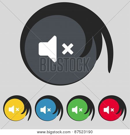 Mute Speaker , Sound Icon Sign. Symbol On Five Colored Buttons. Vector