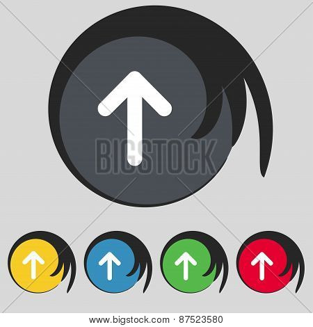 Arrow Up, This Side Up Icon Sign. Symbol On Five Colored Buttons. Vector