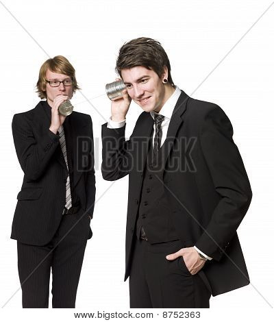 Two men communicating