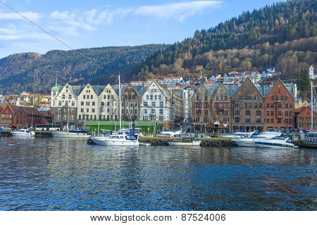 Historic Buildings Of Bryggen In The City Of Bergen, Norway