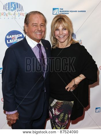 NEW YORK-MAR 28: Former hockey player Rod Gilbert (L) & Judy Christy attend the 2015 Garden Of Laughs Comedy Benefit at Club Bar and Grill at Madison Square Garden on March 28, 2015 in New York City.