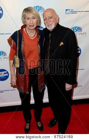 NEW YORK-MAR 28: Actor Dominic Chianese (R) and wife Jane Pittson attend the 2015 Garden Of Laughs Comedy Benefit at the Club Bar and Grill at Madison Square Garden on March 28, 2015 in New York City.
