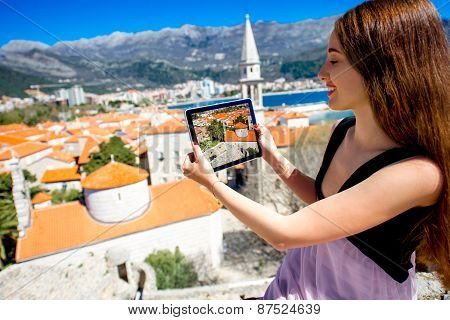 Woman traveling in Budva city