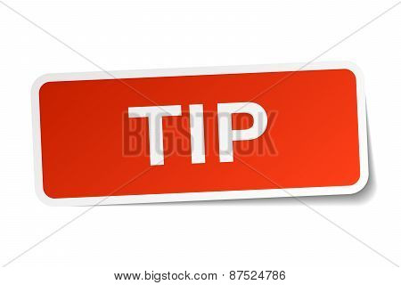 Tip Red Square Sticker Isolated On White