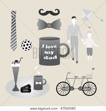 Set Of Objects Constituting Holiday Fathers, Men, Gentlemen