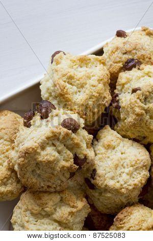 Chocolate Chip Scones on Plate