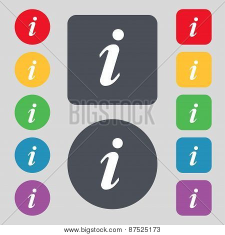Information, Info Icon Sign. A Set Of 12 Colored Buttons. Flat Design. Vector