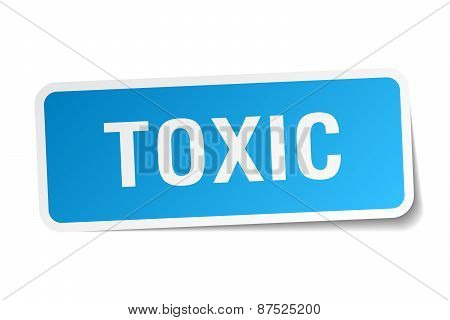 Toxic Blue Square Sticker Isolated On White