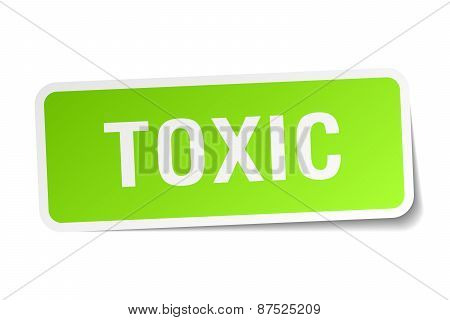 Toxic Green Square Sticker On White Background