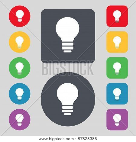 Light Lamp, Idea Icon Sign. A Set Of 12 Colored Buttons. Flat Design. Vector
