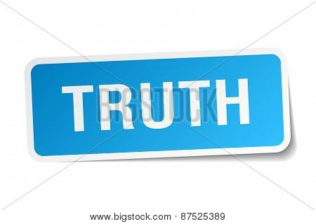 Truth Blue Square Sticker Isolated On White