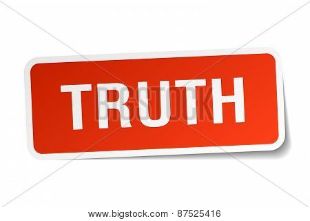 Truth Red Square Sticker Isolated On White