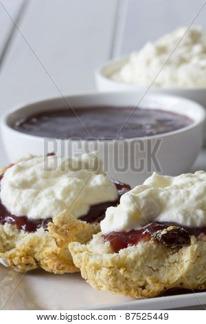 Close Up Sultana Scones with Jam and Cream