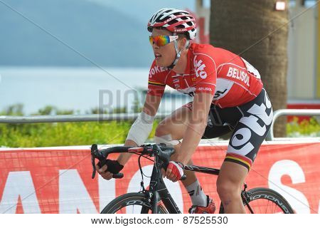 MARMARIS, TURKEY - APRIL 30, 2014: Vegard Breen from the team Lotto - Belisol on the finish of 4th stage of 50th Presidential Cycling Tour of Turkey
