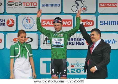 MARMARIS, TURKEY - APRIL 30, 2014: Mark Cavendish from OmegaPharma - Quick Step Cycling Team keep his Green Jersey after 4th stage of 50th Presidential Cycling Tour of Turkey