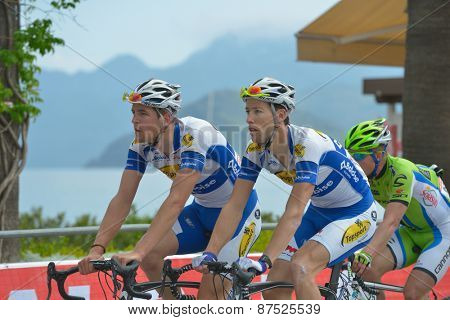 MARMARIS, TURKEY - APRIL 30, 2014: Jarl Salomein (left) and Pieter Vanspeybroeck from Topsport Vlaanderen - Baloise team on the finish of 4th stage of 50th Presidential Cycling Tour of Turkey