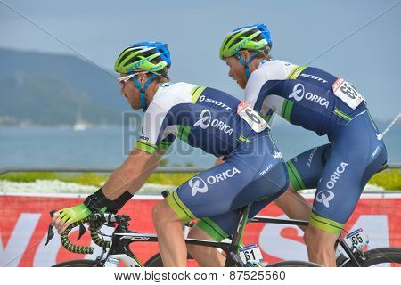 MARMARIS, TURKEY - APRIL 30, 2014: Mitchell Docker (left) and Jens Mouris from Orica - GreenEDGE team on the finish of 4th stage of 50th Presidential Cycling Tour of Turkey