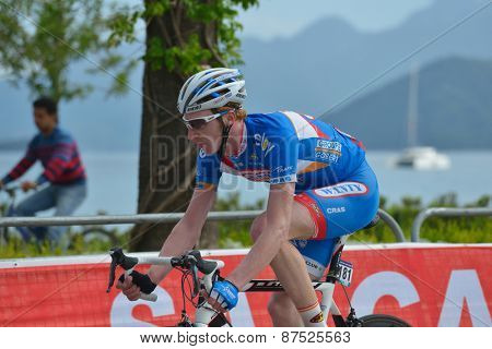 MARMARIS, TURKEY - APRIL 30, 2014: Frederik Backaert from the team Wanty - Groupe Gobert on the finish of 4th stage of 50th Presidential Cycling Tour of Turkey