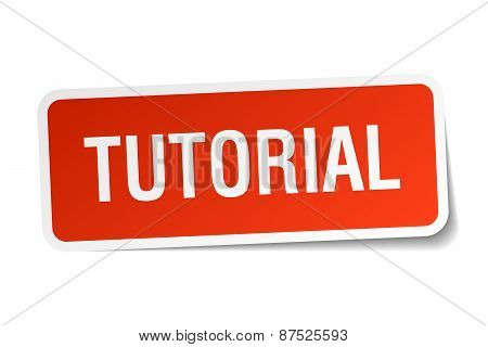 Tutorial Red Square Sticker Isolated On White