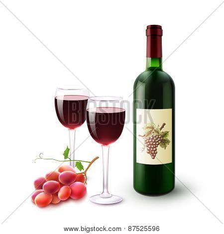 Red Wine Bottle Glasses And Grapes