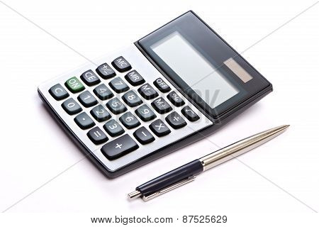 Calculator And Pen Isolated