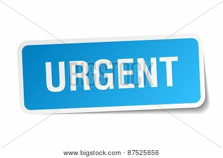 Urgent Blue Square Sticker Isolated On White