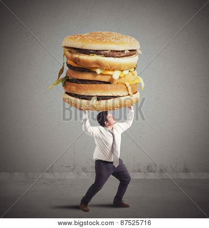 Man and sandwich weight