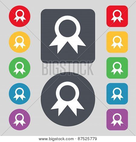 Award, Prize For Winner Icon Sign. A Set Of 12 Colored Buttons. Flat Design. Vector
