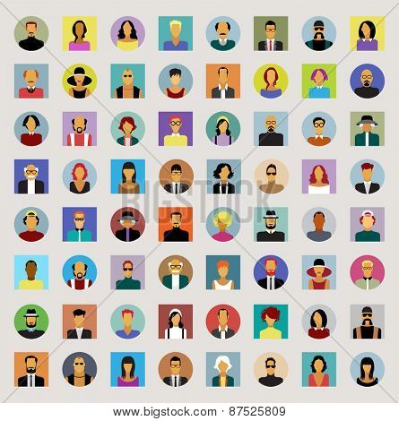 Set avatars people. Modern flat design icons. Background with icons of people. The file is saved in the version AI10 EPS.