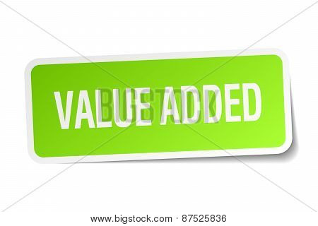 Value Added Green Square Sticker On White Background