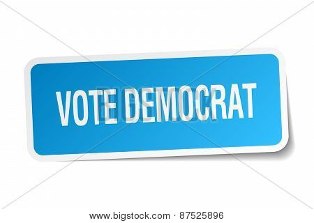 Vote Democrat Blue Square Sticker Isolated On White
