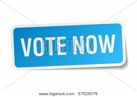 Vote Now Blue Square Sticker Isolated On White
