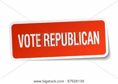 Vote Republican Red Square Sticker Isolated On White