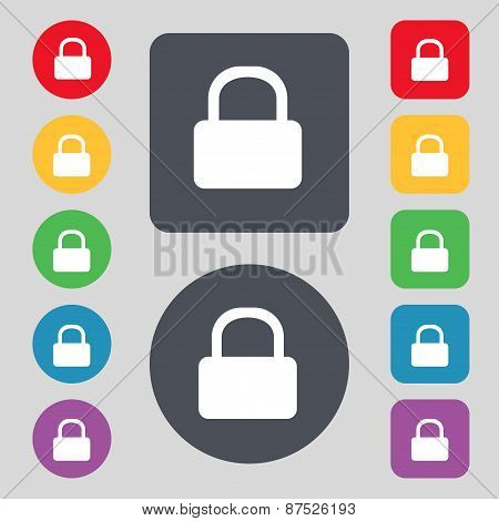 Pad Lock Icon Sign. A Set Of 12 Colored Buttons. Flat Design. Vector